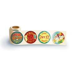 Stop, Drop, & Roll Theme Assortment Sticker Roll fire safety, stop, drop, & roll, know 2 ways out, fire safety stickers, kids stickers, fire prevention week