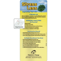 Stress Less Post Up/E-Z Stick Glancer	 BetterLifeLine, BetterLife, Education, Educational, information, Informational, Wellness, Guide, Brochure, Paper, Low-cost, Low-Price, Cheap, Instruction, Instructional, Booklet, Small, Reference, Interactive, Learn, Learning, Read, Reading, Health, Well-Being, Living, Awareness, PostUp, Refrigerator, Adhesive, Wall, Sticky, Post-it, Mental, Mind, Instability, Stability, Depression, Memory, Therapy, Therapist, Psychology, Psych, Psychiatrist, Psychologist, Stress, Brain, E-Z Stick Glancer, Positive Promotions, The Positive Line