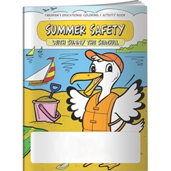 Summer Safety with Sunny the Seagull Coloring Book Summer Safety with Sunny the Seagull Coloring Book, BetterLifeLine, BetterLife, Education, Educational, information, Informational, Wellness, Guide, Brochure, Paper, Low-cost, Low-Price, Cheap, Instruction, Instructional, Booklet, Small, Reference, Interactive, Learn, Learning, Read, Reading, Health, Well-Being, Living, Awareness, ColoringBook, ActivityBook, Activity, Crayon, Maze, Word, Search, Scramble, Entertain, Educate, Activities, Schools, Lessons, Kid, Child, Children, Story, Storyline, Stories, Pools, Water, Outdoors, Outside, Drown, Accident, Fall, Bicycle, Preschool, Daycare, Grade School, Elementary,Imprinted, Personalized, Promotional, with name on it, Giveaway,