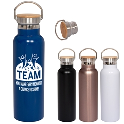 """TEAM: You Make Every Moment A Chance To Shine"" 20 oz. Vacuum Bottle with Bamboo Lid Employee Appreciation, Employee Recognition, Bamboo Lid Bottle, Vacuum Bottle, Bamboo Lid, Bottle, corporate holiday gifts, employee appreciation gifts, business gifts"