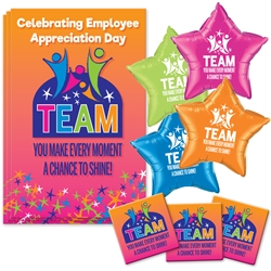 """TEAM: You Make Every Moment A Chance To Shine"" Decoration Pack  Poster, Buttons, Pens, Cups, Celebration Pack, Employee Appreciation Day, Employee Recognition theme Celebration Pack"