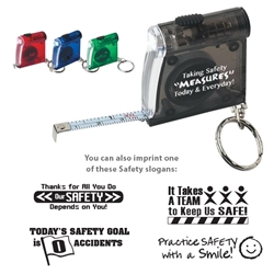 """Taking Safety Measures Today & Everyday!"" LED Flashlight Key Chain  Safety, Tape Measure LED Flashlight Key Chain, Tape, Measure, LED, Flashlight, Key, Chain, Imprinted, Personalized, Promotional, with name on it, giveaway,"