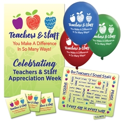 Teachers & Staff Appreciation Week Celebration & Appreciation Pack   Poster, Buttons, Pens, Cups, Celebration Pack, Teachers and Staff, Appreciation Day, theme Celebration Pack