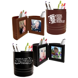 Teachers & Staff: It Takes A TEAM to Inspire DREAMS! Leatherette Folding Photo Frame Desk Caddy Teacher Appreciation Theme Business Gifts, business gifts, desk gifts, pen caddy, photo frame, holiday gifts, corporate holiday gifts, promotional pen holder, desk organizer