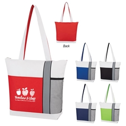 Teachers & Staff: You Make A Difference In So Many Ways! Colormix Tote Bag  Teacher Theme, School Staff, Teachers, Colormix, Trio Colors, Tote Bag, Imprinted, Personalized, Promotional, with name on it, giveaway,