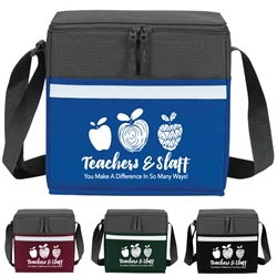 """Teachers & Staff: You Make A Difference In So Many Ways"" Two-Tone Accent 12-Pack Cooler   two tone, cooler, accent, lunch bag, 12 pack cooler, Promotional, Imprinted, Polyester, Travel, Custom, Personalized, Bag"