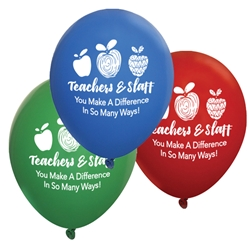 """Teachers & Staff: You Make a Difference In So Many Ways!"" 11 inch Crystal Latex Balloons (Pack of 60 assorted)  Teachers, staff, Theme, Latex balloons, party goods, decorations, celebrations, round shaped balloons, promotional balloons, custom balloons, imprinted balloons"