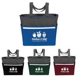 """Teachers & Staff: You Make a Difference In So Many Ways!"" Two-Tone Accent Zip Tote  teacher, school staff, teachers, theme, two tone, tote, accent, Tote bag, Promotional, Imprinted, Polyester, Travel, Custom, Personalized, Bag"