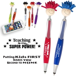 Teachers and School Staff Theme MopTopper™ Stylus Pens   Teachers, School Staff, Teachers Fun Pen, Teachers theme, Mop, Topper, Hair, Top, Smile, Pen, Stylus, Screen Cleaner, Pendant Pen, Pendant, Pen, Pens, Ballpoint, Aluminum, Imprinted, Personalized, Promotional, with name on it, giveaway, black ink