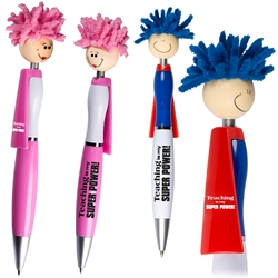 Teaching is My Super Power! Superhero Pen    Superhero Pen, Pen with Cape, Hero Pen, Mop, Topper, Hair, Top, Smile, Pen, Stylus, Screen Cleaner, Pendant Pen, Pendant, Pen, Pens, Ballpoint, Aluminum, Imprinted, Personalized, Promotional, with name on it, giveaway, black ink