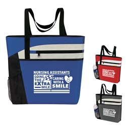 """Thank You CNA Heroes...You Always Have Our Back!"" Theme Bullet Zip Pockets Tote  CNA theme, Nursing Caring Team, Healthcare Theme, Bullet Tote, Tablet Tote, All Purpose, Prime, Polyester, Linen, Meeting, Signature, Zip, Promotional Events, Trade Show Bags, Health Fair, Imprinted, Tote, Reusable"