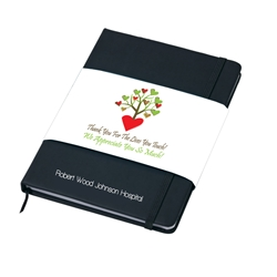 "Thank You For The Lives You Touch, We Appreciate You So Much!  Soft Touch 5""x 7"" Imprinted Journal with 4/C Process Band   4 Color Process Journal, Soft Touch Journal, Journal with Full Color Imprint, Journal giveaway, promotional products, employee appreciation, employee recognition, smiley face"