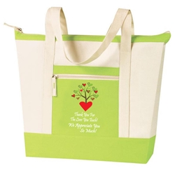 Thank You For The Lives You Touch, We Appreciate You So Much! Stock Design Jumbo Zip Tote All Purpose, Jumbo, Zip, Polyester, volunteers, nursing, nurses, recognition, healthcare, Promotional Events, Trade Show Bags, Health Fair, Imprinted, Tote, Reusable, Recognition, Travel