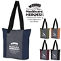 """Thank You Healthcare HEROES! Whatever it Takes is the Difference You Make"" Heathered Fun Tote Bag   Healthcare Appreciation, Hospital  Week Theme tote, Skilled Nursing,  Appreciation Tote, Volunteer Recognition Tote, 210D Polycanvas Tote, Fun, Heathered, Tote Bag, Colorful, Tote, Bag, Imprinted, Personalized, Promotional, with name on it, Giveaway, Gift Idea"
