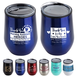 """Thank You Nursing Assistants Heroes 2020"" Theme 12 oz Stainless Steel/Polypropylene Wine Goblet  Nursing Assistants Theme, CNA theme,  Wine Tumbler, NA theme Goblet, 11 oz wine goblet, wine holder, wine tumbler, Stainless Steel Wine Holder, 10 oz tumbler, Imprinted Tumblers, Stainless Steel Tumblers, Care Promotions,"