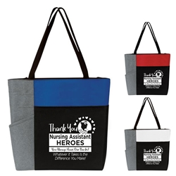 """Thank You Nursing Assistants Heroes: You Always Have Our Backs!...""Color Block Pocket Zip Tote  Nursing Assistants theme tote, CNA Theme Tote, Nurses Appreciation Tote, Recognition, Color, block, Zip, Multi-Function, Luggage Loop Tote Bag, tote, Imprinted, Travel, Custom, Personalized, Bag"