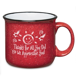 Thanks For All You Do...We Appreciate You! 15 Oz. Campfire Mug  15 Oz. Campfire, Mug, Retro, Granite, Stoneware, Mug, Coffee, Cup, Desk, Beverage, colorful, with, handle,Imprinted, Personalized, Promotional, with name on it, Gift Idea, Giveaway,
