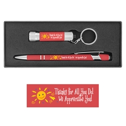 """Thanks For All You Do, We Appreciate You!"" Executive Soft Touch Key Light and Pen Gift Set soft touch,  Pen, Mini Flash Light, Pen and flashlight Gift Set, Imprinted, Personalized, Promotional, with name on it"