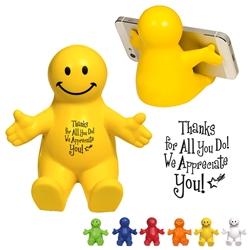 """Thanks For All You Do, We Appreciate You!"" Happy Dude Mobile Device Holder  Employee Appreciation Week, Appreciation Theme, Recognition theme, promotional cell phone stand, promotional stress reliever, custom logo stress relievers, custom logo phone stand, employee appreciation gifts, trade show giveaways"