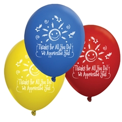 """Thanks For All You Do, We Appreciate You!"" Standard Latex Balloons (Pack of 60 assorted)   Latex balloons, party goods, decorations, celebrations, round shaped balloons, promotional balloons, custom balloons, imprinted balloons"