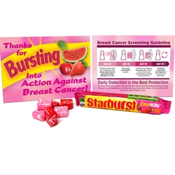 """BURSTING Into Action Against Breast Cancer"" STARBURST Fundraising & Awareness Care Package Breast Cancer Awareness, Fundraising, Kit, Starburst, Awareness, Breast, Cancer, Kit, Breast Cancer Awareness Kit, Low cost awareness, Breast Cancer Fundraisers, Breast Cancer Awareness Giveaways, Gum Kit,"