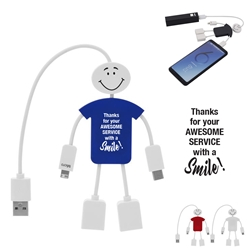 """Thanks For Your Awesome Service With A Smile!"" Techmate 3-In-1 Charging Cable & USB Hub Charging Smile Buddy, Light Up Charging Cable, USB charging Happy Face cable, promotional computer accessories, Tech business gifts, corporate holiday gifts, employee appreciation gifts"