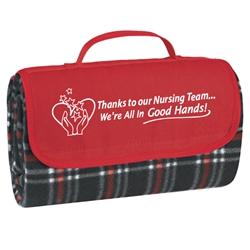Thanks To Our Nursing Team Were All In Good Hands! Roll Up Picnic Blanket  Nursing Theme, Picnic Blanket, Roll Up Blanket, Outdoor Blanket, Roll Up Picnic Blanket, Imprinted, Personalized, Promotional, with name on it, Giveaway, Gift Idea