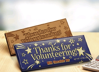 """Thanks for Volunteering!"" Chocolate Bar Employee Appreciation, Employee Recognition, Holiday Gifts, Business Gifts, Corporate Gifts, Holiday Parties, chocolate, Gifts for Volunteers, volunteer gifts, volunteer appreciation, national volunteer week"