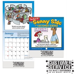 The Sunny Side Of Customer Service Mini Wall Calendar 2018 Positive Promotions, The Sunny Side of Customer Service, The Positive Line, Customer Service Calendar, Education, Educational, information, Informational, Paper, Low-cost, Low-Price, Cheap, Instruction, Instructional, Booklet, Small, Reference, Interactive, Learn, Learning, Read, Reading, Health, Well-Being, Living, Awareness, ColoringBook, ActivityBook, Activity, Crayon, Maze, Word, Search, Scramble, Entertain, Educate, Activities, Schools, Lessons, Kid, Child, Children, Story, Storyline, Stories, Fire, Safety, Burn, Fireman, Fighter, Department, Smoke, Danger, Forest, Station, Protect, Protection, Emergency, Firefighter, First Aid,Imprinted, Personalized, Promotional, with name on it, Giveaway,