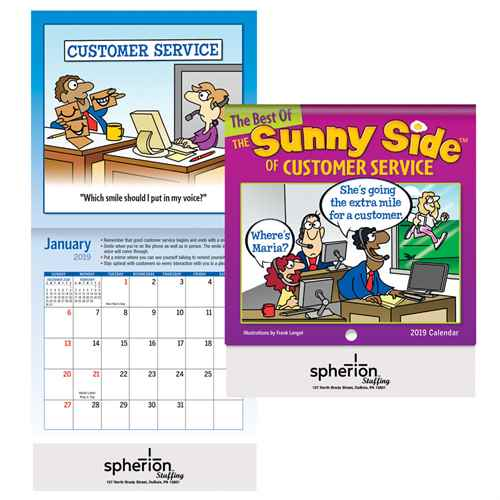 The Sunny Side Of Customer Service Mini Wall Calendar 2019 Positive Promotions, The Sunny Side of Customer Service, The Positive Line, Customer Service Calendar, Education, Educational, information, Informational, Paper, Low-cost, Low-Price, Cheap, Instruction, Instructional, Booklet, Small, Reference, Interactive, Learn, Learning, Read, Reading, Health, Well-Being, Living, Awareness, ColoringBook, ActivityBook, Activity, Crayon, Maze, Word, Search, Scramble, Entertain, Educate, Activities, Schools, Lessons, Kid, Child, Children, Story, Storyline, Stories, Fire, Safety, Burn, Fireman, Fighter, Department, Smoke, Danger, Forest, Station, Protect, Protection, Emergency, Firefighter, First Aid,Imprinted, Personalized, Promotional, with name on it, Giveaway,