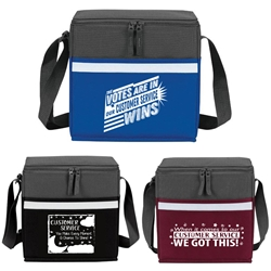 """The Votes Are In...Our Customer Service Wins!"" Two-Tone Accent 12-Pack Cooler   Customer Service, CSR, appreciation, week, recognition, gifts, bags, two tone, cooler, accent, lunch bag, 12 pack cooler, Promotional, Imprinted, Polyester, Travel, Custom, Personalized, Bag"