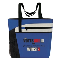 """Emergency Nurses: Your Care Makes A Difference In So Many Ways!""Bullet Zip Pockets Tote  Emergency Nurses Theme Tote, Emergency Nurses Tote, Tote, All Purpose, Prime, Polyester, Linen, Meeting, Signature, Zip, Promotional Events, Trade Show Bags, Health Fair, Imprinted, Tote, Reusable"