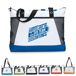 """The Votes Are In...Our Environmental Services TEAM Wins"" Venture Business Tote  Environmental Services, theme, tote, EVS Appreciation Theme Tote, Housekeeping, Theme Bag, Nurses tote with Water Bottle Holder, Pocket, Basic, Low Price, Promotional, Imprinted, with name on it, logo, custom bag"