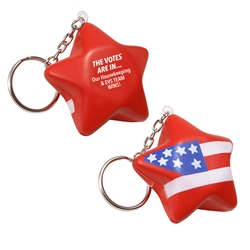 """The Votes Are In Our Housekeeping & EVS TEAM Wins"" Patriotic Star Stress Reliever Key Chain  Housekeeping Week Theme, EVS Theme, Environmental Services, patriotic, star, promotional items, election giveaways, voting, giveaways, 4th of July, Independence Day, american heart month giveaways, womens heart health giveaways, heart shaped promotional products, Valentines day promotional items, heart shaped giveaways, promotional key tags, custom printed stress reliever key chains"