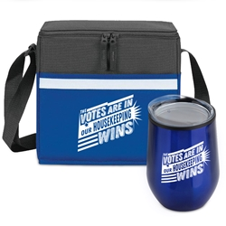"""The Votes Are In Our Housekeeping Wins"" Goblet & Cooler Care Bundle Lunch Bag Combo, Appreciation Gift Combo, Cooler and Bottle Combo, Care Bundle, Break Pack, Housekeeping Gift Set, Theme, promotional products, scooler set, Lunch bag, Imprinted"