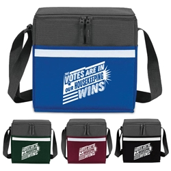 """The Votes Are In...Our Housekeeping Wins"" Two-Tone Accent 12-Pack Cooler    Housekeeping, Housekeepers, appreciation, week, recognition, gifts, bags, two tone, cooler, accent, lunch bag, 12 pack cooler, Promotional, Imprinted, Polyester, Travel, Custom, Personalized, Bag"