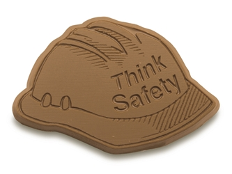 Think Safety Chocolate Hard Hat Safety Reminder, Safety Incentives, Workplace Safety, warehouse safety, national safety month, safety program, safety awareness, OSHA, safety meetings, safe work habits, human resources, manufacturing, construction