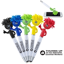 """Thumbs Up To Our Awesome Essential Workers"" Thumbs Up MopTopper™ Stylus Pen Essential Worker, Appreciation Pens, Employee Recognition promotional pens, Employee Appreciation Pens, custom printed pens, pens with your logo, low cost promotional pens, personalized writing instruments, custom printed stylus pen, custom logo pen, employee appreciation gifts, employee incentives, employee recognition gifts"
