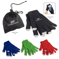 Touchscreen Gloves in Pouch touchscreen gloves, winter promotional items, corporate holiday gifts, custom printed touchscreen gloves, promotional touchscreen gloves, holiday appreciation gifts, employee appreciation gifts