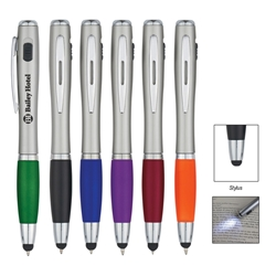 Trio Pen With LED Light And Stylus Trio Pen With LED Light And Stylus, Trio, Pen, Pens, LED, Light, Stylus,Ballpoint, Imprinted, Personalized, Promotional, with name on it, giveaway, black ink