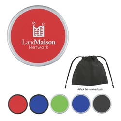 Two-Tone Coaster 4 Pack in Non-Woven Bag 4 pack, Non-Woven Bag, Two-Tone Coaster, Two, Tone, 2, Coaster, Colors, with, Debossed, Silkscreen, Drinkware, Drink, Coasters, Imprinted, Personalized, Promotional, with name on it, Gift Idea, Giveaway,