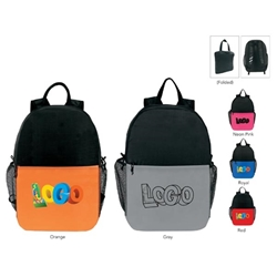 Two-Tone Pack-n-Go Lightweight Backpack Lightweight Backpack, Foldaway Backpack, Backpack, Backpack, Imprinted, Travel, Custom, Personalized, Bag