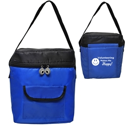 VOLUNTEERING Makes Me HAPPY! Lunch Bag   lunch cooler bag, lunch bag, cooler bag, promotional lunch bag, promotional products, employee appreciation, employee recognition, smiley face