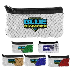 Vibrant Sequin Pouch promotional travel bag, promotional travel pouch, promotional cosmetic bag, custom logo zippered pouch, promotional sequin bag, full color promotional products