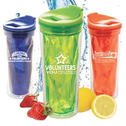 Volunteer Appreciation Prism Tumblers  Volunteer theme tumbler, tumbler, crystal style, prism, glacier, tumbler, beverage holder, travel tumbler, drinkware, sporty, promotional products