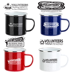 Volunteer Appreciation Themes 16 oz. Enamel Lined Iron Coffee Mug   Volunteer appreciation coffee mug, Volunteer recognition coffee mug,  promotional coffee mug, custom logo coffee mug, promotional drinkware, promotional camp mug, promotional camping mug, coffee mug with your logo, speckled camp mug, employee appreciation gifts, business gifts, promotional giveaways