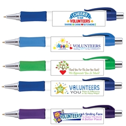 Volunteer Appreciation Vision Grip Pens Assortment Pack  Volunteer Theme, Full Color Pen, 4 color process pen, full color grip pen, Vision pen,  Imprinted, Personalized, Promotional, with name on it