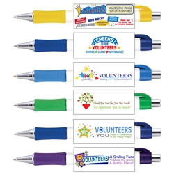 Volunteer Appreciation Vision Grip Pens Assortment Pack (Pack of 24)  Volunteer Theme, Full Color Pen, 4 color process pen, full color grip pen, Vision pen,  Imprinted, Personalized, Promotional, with name on it