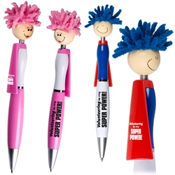 Volunteering is My Super Power! Superhero Pen    Superhero Pen, Pen with Cape, Hero Pen, Mop, Topper, Hair, Top, Smile, Pen, Stylus, Screen Cleaner, Pendant Pen, Pendant, Pen, Pens, Ballpoint, Aluminum, Imprinted, Personalized, Promotional, with name on it, giveaway, black ink