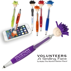 Volunteers: A Smiling Face To Make The World A Better Place! MopTopper™ Stylus Pen  Volunteer, Volunteers, Volunteer Fun Pen, Mop, Topper, Hair, Top, Smile, Pen, Stylus, Screen Cleaner, Pendant Pen, Pendant, Pen, Pens, Ballpoint, Aluminum, Imprinted, Personalized, Promotional, with name on it, giveaway, black ink